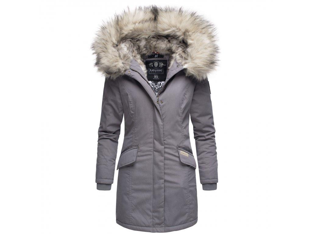 Dámska zimná bunda s kapucňou a kožušinkou Cristal Navahoo - GREY