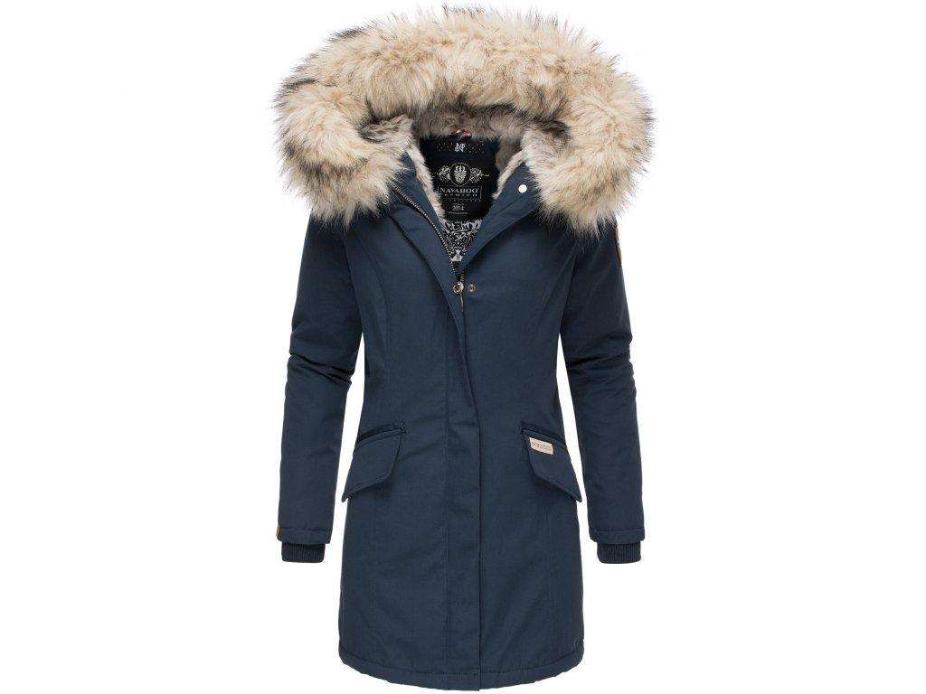 Dámska zimná bunda s kapucňou a kožušinkou Cristal Navahoo - NAVY