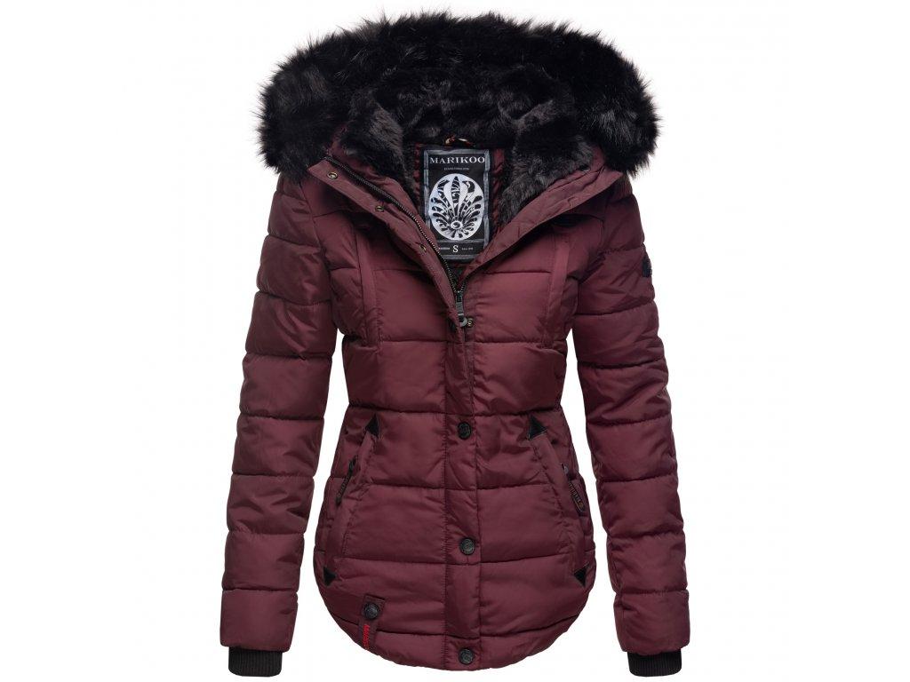 Dámska zimná bunda s kapucňou Lotusblute Marikoo - WINE