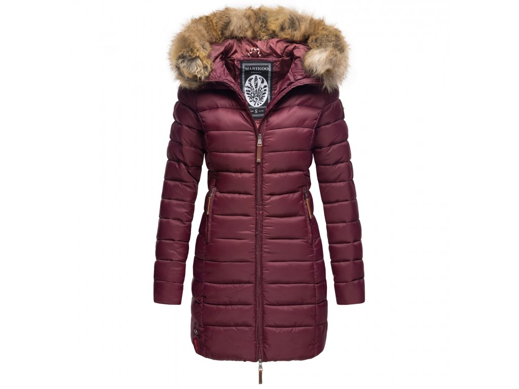 Dámska zimná bunda s kapucňou ROSE 110 Marikoo - WINE