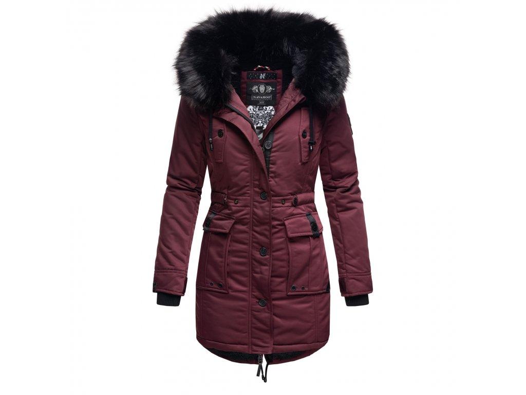 Dámska zimná dlhá bunda / kabát Luluna Princess Navahoo - WINE