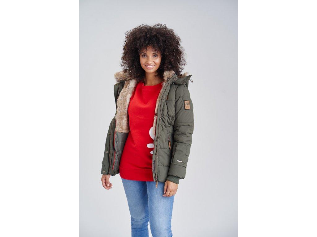 Dámska zimná bunda s kapucňou Nekoo Marikoo - OLIVE