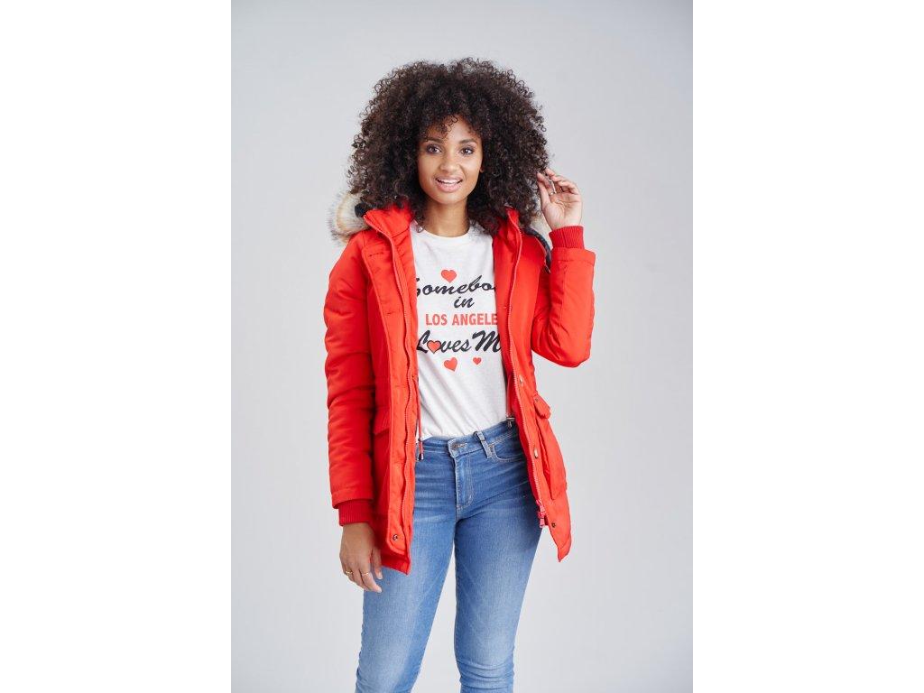 Dámska zimná bunda s kapucňou Schneeengel Princess Navahoo - RED