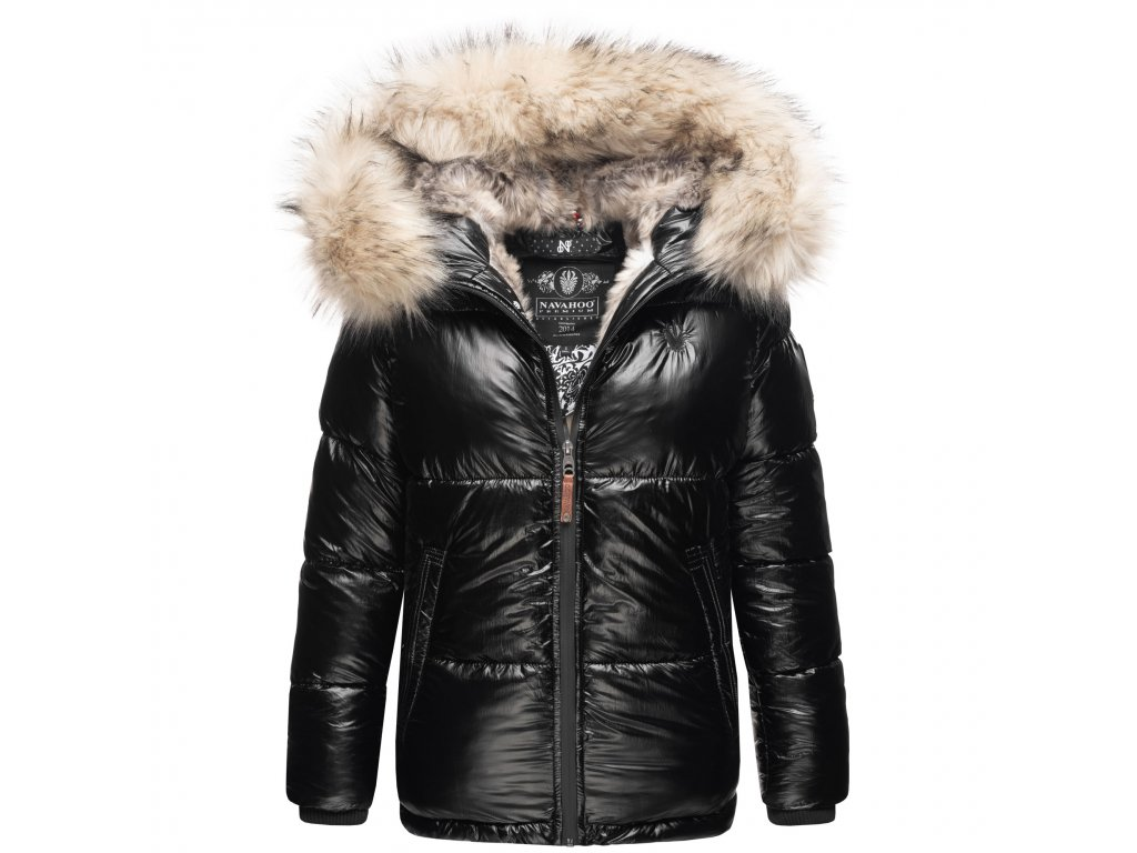Dámska teplá zimná bunda s kožušinkou Tikunaa Premium Navahoo - BLACK