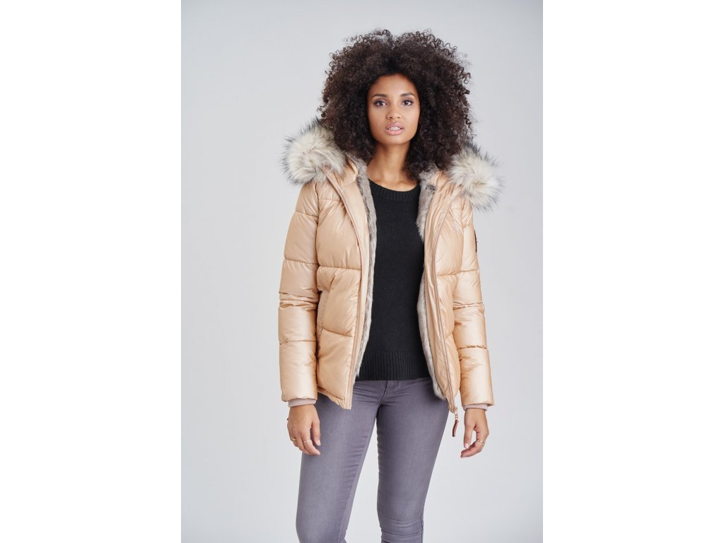 Dámska teplá zimná bunda s kožušinkou Tikunaa Premium Navahoo - GOLD