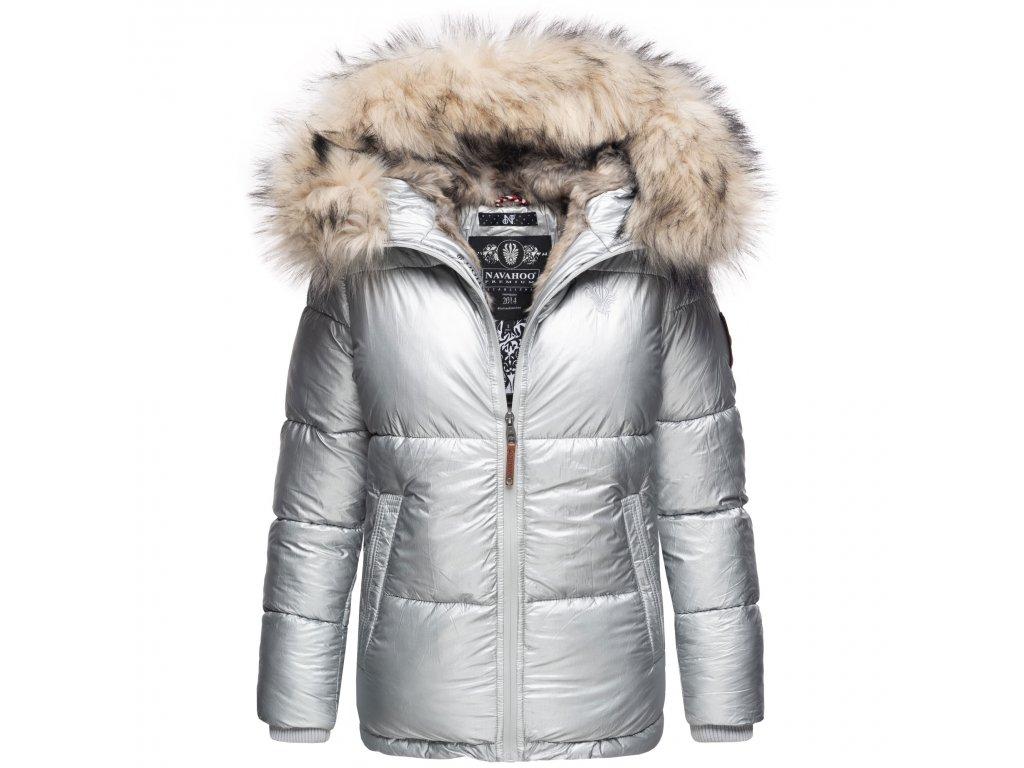 Dámska teplá zimná bunda s kožušinkou Tikunaa Premium Navahoo - SILVER