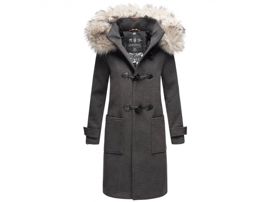 Štýlový dámsky kabát zimné Oksana Navahoo - ANTRACITE