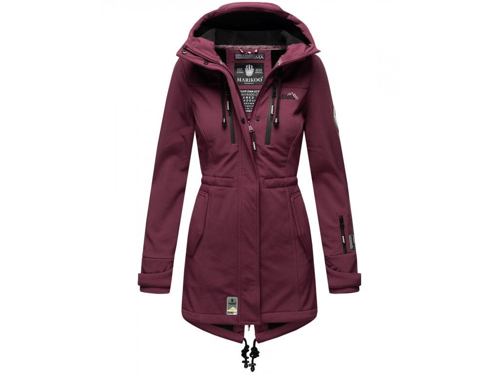 Dámska zimná bunda s kapucňou Zimtzicke softshell 7000 dry-tech Marikoo - WINE