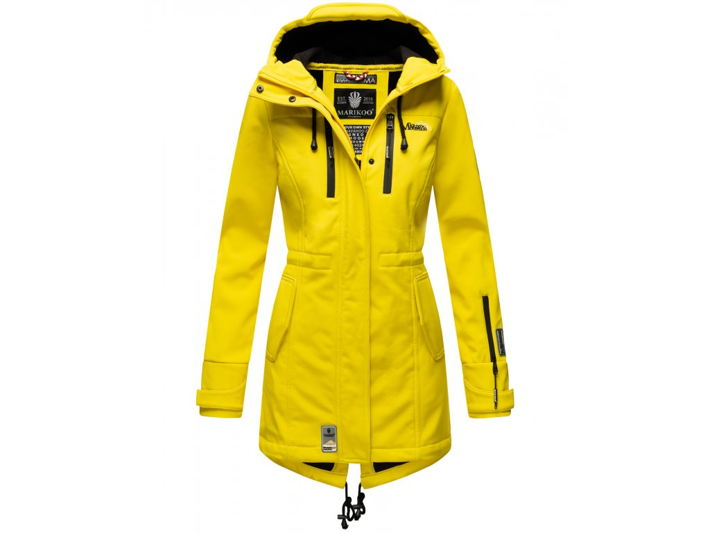 Dámska zimná bunda s kapucňou Zimtzicke softshell 7000 dry-tech Marikoo - YELLOW
