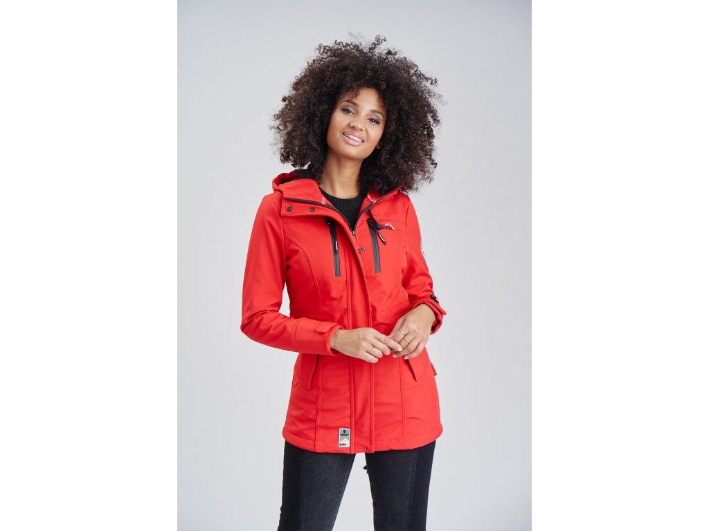 Dámska zimná bunda s kapucňou Zimtzicke softshell 7000 dry-tech Marikoo - RED