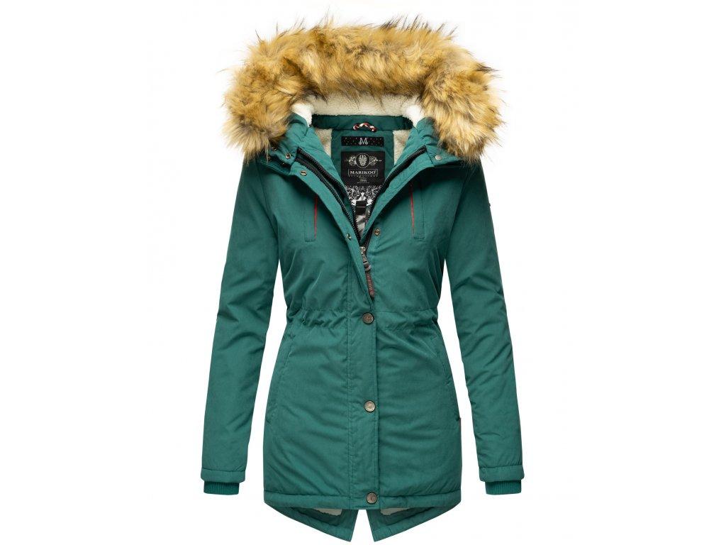 Dámska zimná bunda s kožušinkou AKIRA Marikoo - OCEAN GREEN