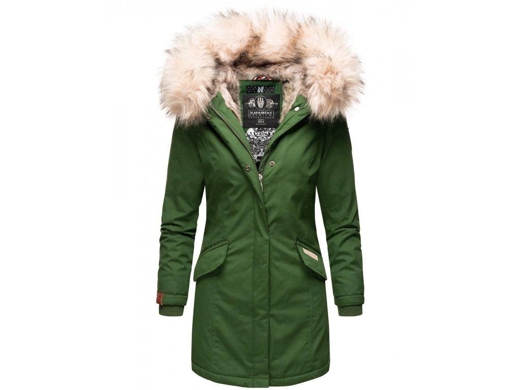 Dámska zimná bunda s kapucňou a kožušinkou Cristal Navahoo - GREEN