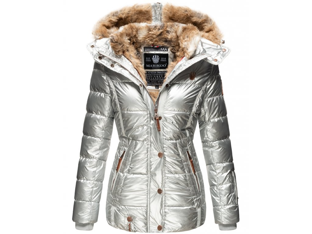 Dámska zimná bunda s kapucňou Nekoo Marikoo - SILVER