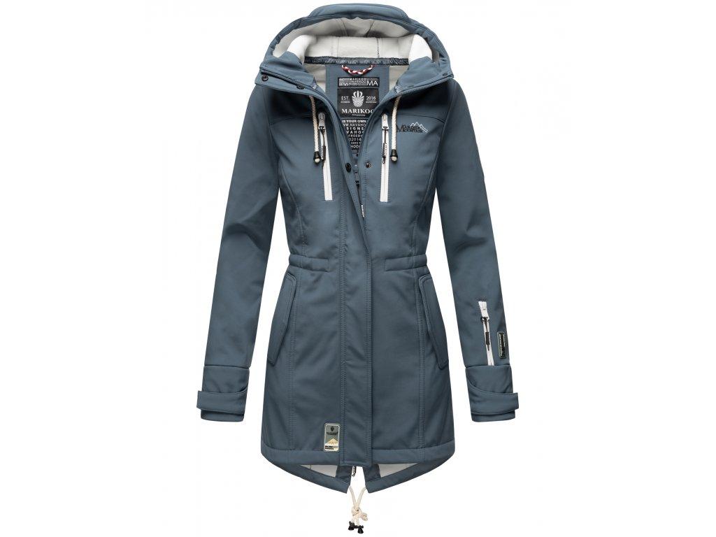 Dámska zimná bunda s kapucňou Zimtzicke softshell 7000 dry-tech Marikoo - DUSTY BLUE