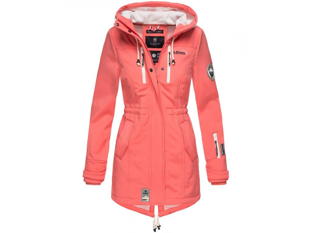 Dámska zimná bunda s kapucňou Zimtzicke softshell 7000 dry-tech Marikoo - CORAL