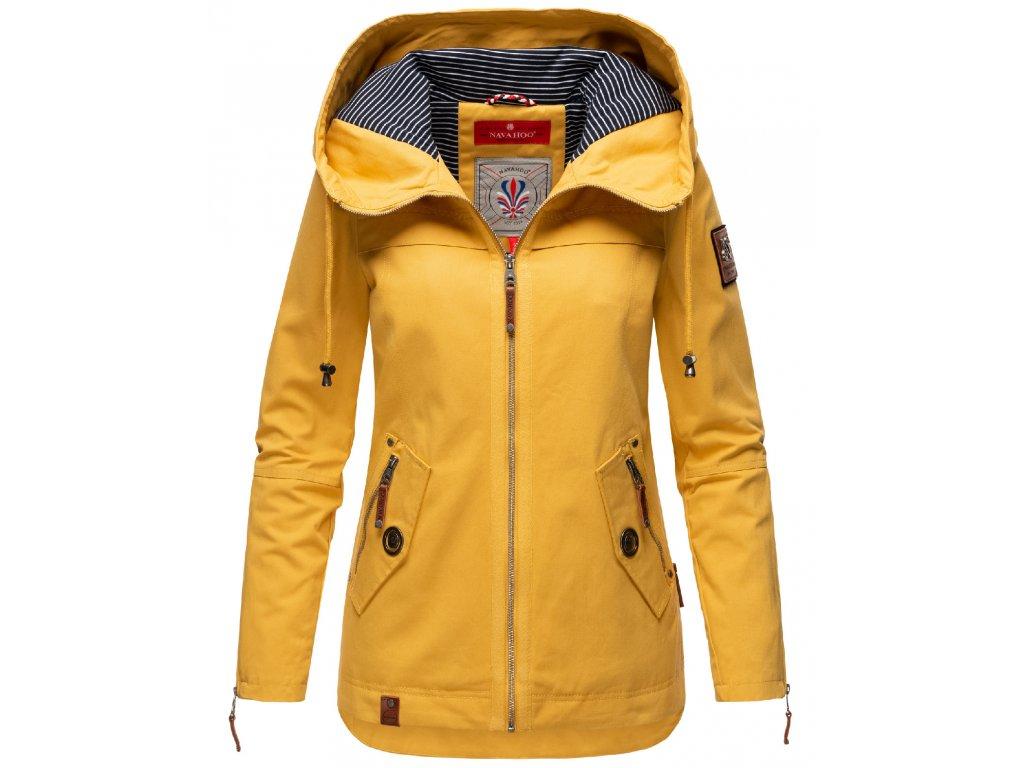 Dámska jarná-jesenná bunda s kapucňou Wekoo Marikoo - YELLOW MUSTARD