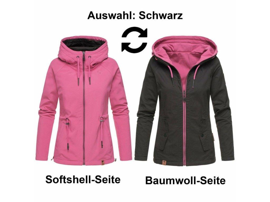 Dámská jarní-podzimní oboustranná bunda 2v1 SOFTSHELL Chuu Marikoo - BLACK (Velikost XXL)