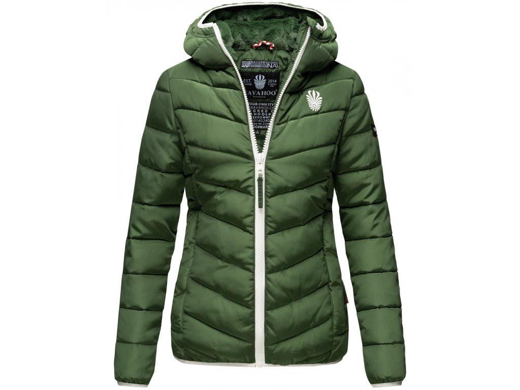 Dámska zimná bunda s kapucňou ELVA N-W-165 Navahoo - GREEN OLIVE