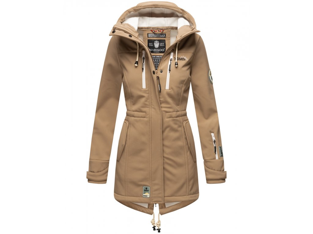 Dámska zimná bunda s kapucňou Zimtzicke softshell 7000 dry-tech Marikoo - TAUPE