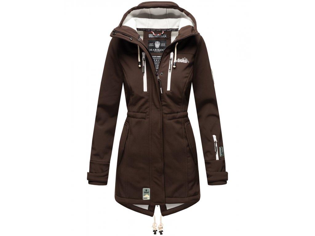 Dámska zimná bunda s kapucňou Zimtzicke softshell 7000 dry-tech Marikoo - CHOCOLATE