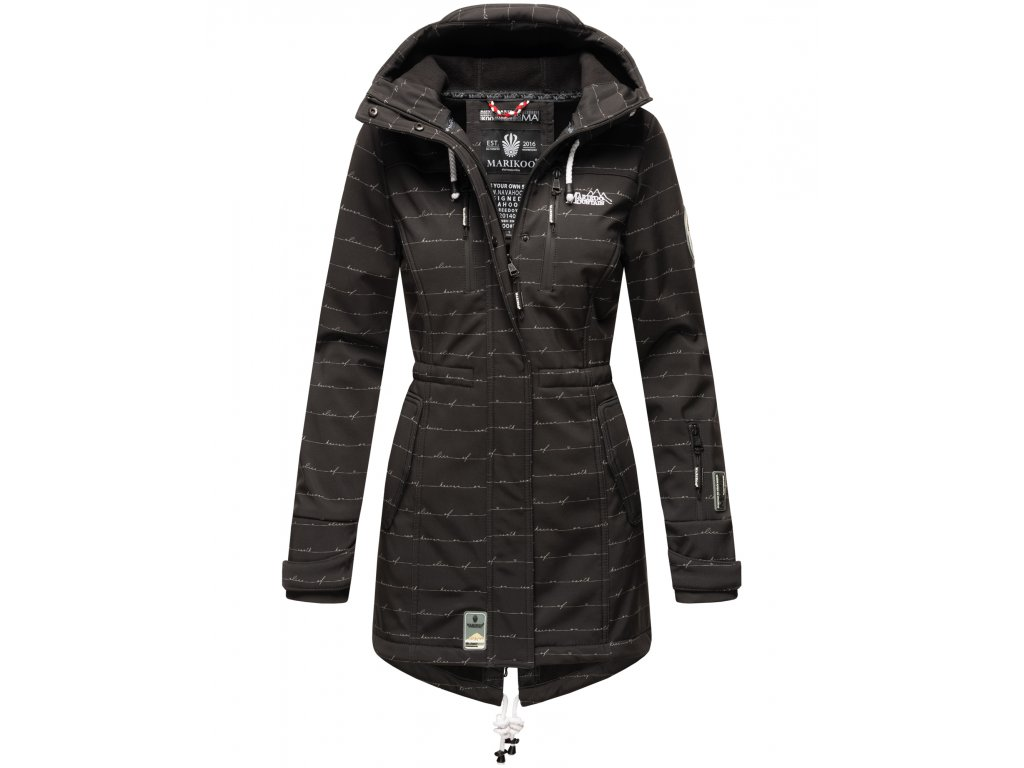 Dámska zimná bunda s kapucňou Softshell Drytech 7000 Zimtzicke P Marikoo - BLACK w. L