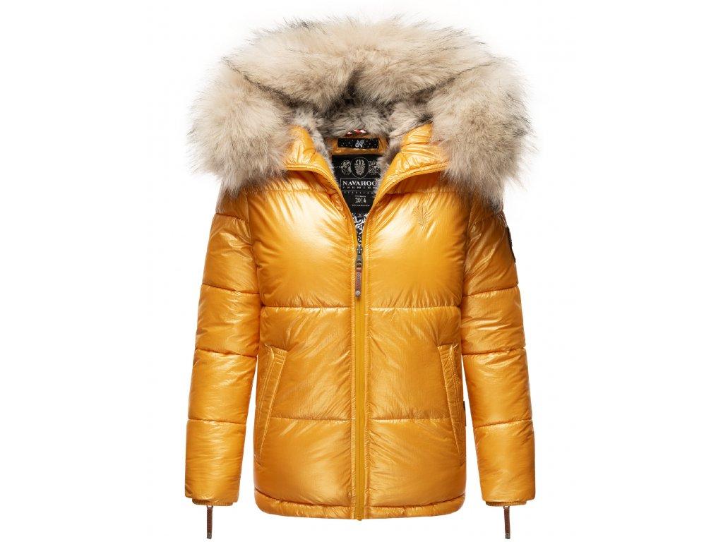 Dámska teplá zimná bunda s kožušinkou Tikunaa Premium Navahoo - YELLOW