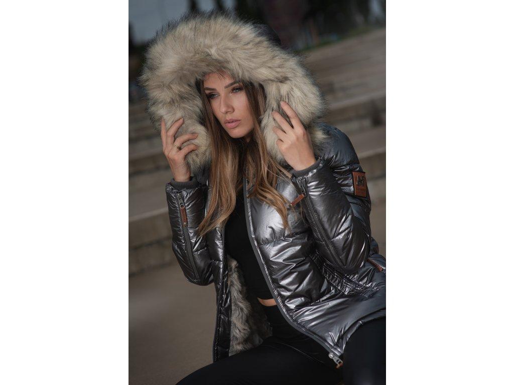 Dámska teplá zimná bunda s kožušinkou Tikunaa Premium Navahoo - ANTRACITE