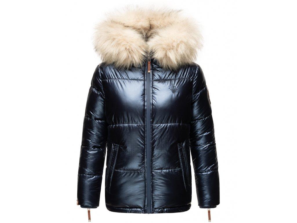 Dámska teplá zimná bunda s kožušinkou Tikunaa Premium Navahoo - NAVY