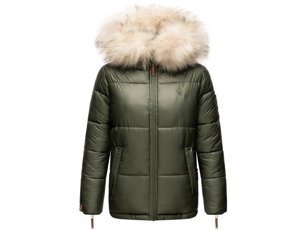 Dámska teplá zimná bunda s kožušinkou Tikunaa Premium Navahoo - OLIVE