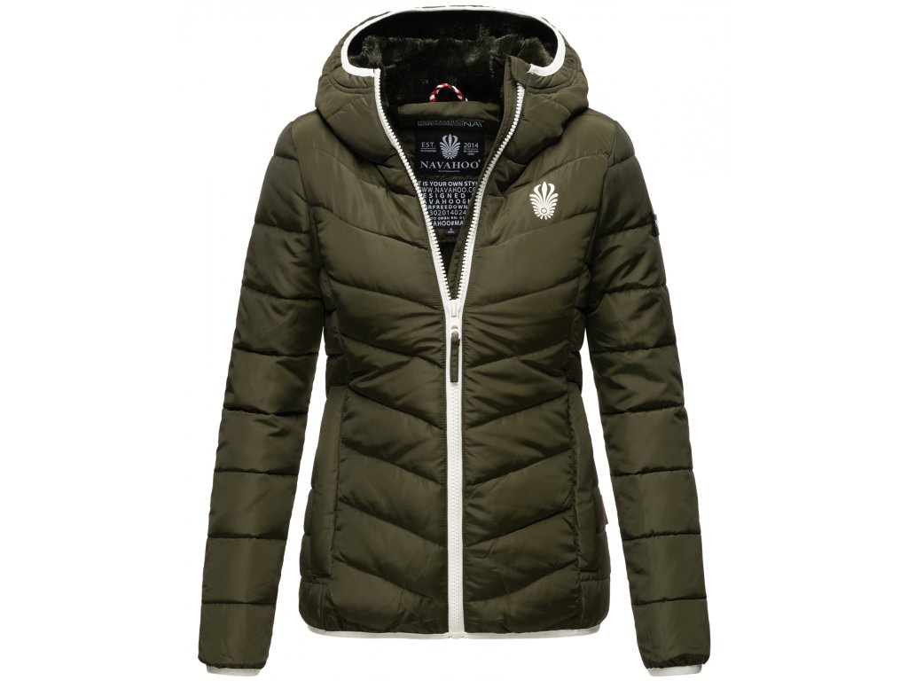 Dámska zimná bunda s kapucňou ELVA N-W-165 Navahoo - OLIVE