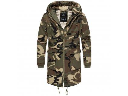 Pánsky zimný dlhý kabát 2v1 Assasin Navahoo - CAMO GREEN