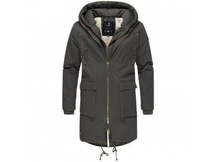 Pánsky zimný dlhý kabát 2v1 Assasin Navahoo - DARK GREY