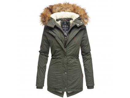 Dámska zimná bunda s kožušinkou AKIRA Marikoo - OLIVE