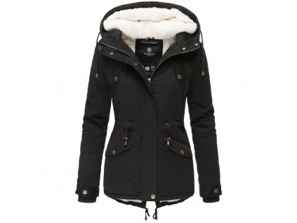 Zimná bunda s kapucňou a kožušinkou Manolya Marikoo - BLACK