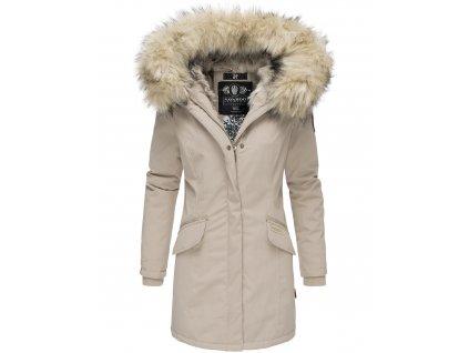Dámska zimná bunda s kapucňou a kožušinkou Cristal Navahoo - BEIGE