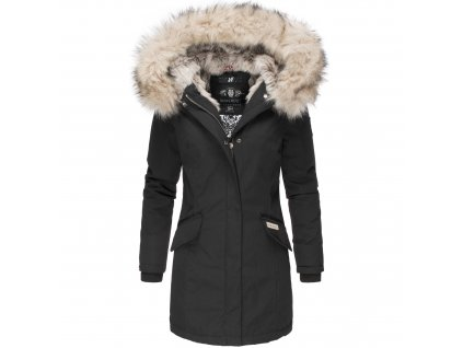 Dámska zimná bunda s kapucňou a kožušinkou Cristal Navahoo - BLACK