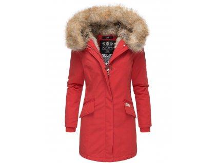 Dámska zimná bunda s kapucňou a kožušinkou Cristal Navahoo - RED