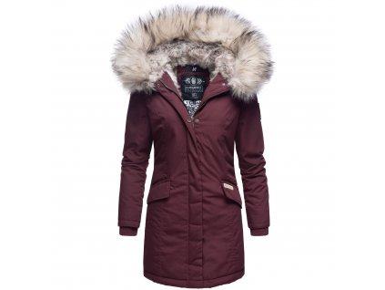 Dámska zimná bunda s kapucňou a kožušinkou Cristal Navahoo - WINE