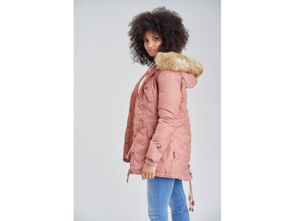Dámska zimná bunda s kapucňou La Viva Navahoo - TERRACOTTE