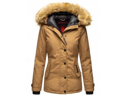Dámska zimná bunda s kapucňou Laura Navahoo - CAMEL