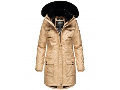 Dámska zimná bunda s kapucňou Tiniis Navahoo - BEIGE