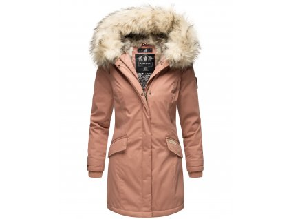Dámska zimná bunda s kapucňou a kožušinkou Cristal Navahoo - TERRACOTE