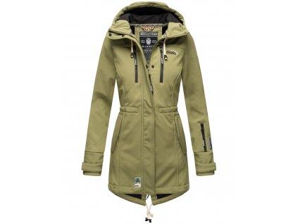 Dámska zimná bunda s kapucňou Zimtzicke softshell 7000 dry-tech Marikoo - OLIVE