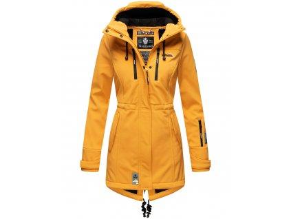 Dámska zimná bunda s kapucňou Zimtzicke softshell 7000 dry-tech Marikoo - AMBER YELLOW