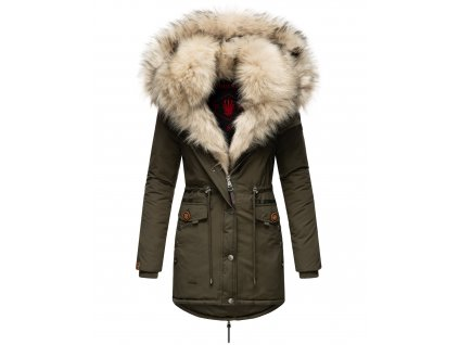 Dámska zimná bunda s kožušinkou Sweety Navahoo - OLIVE
