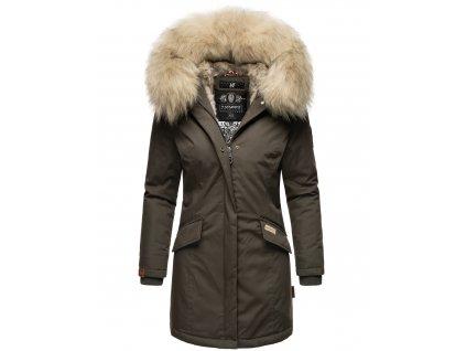 Dámska zimná bunda s kapucňou a kožušinkou Cristal Navahoo - ANTRACITE