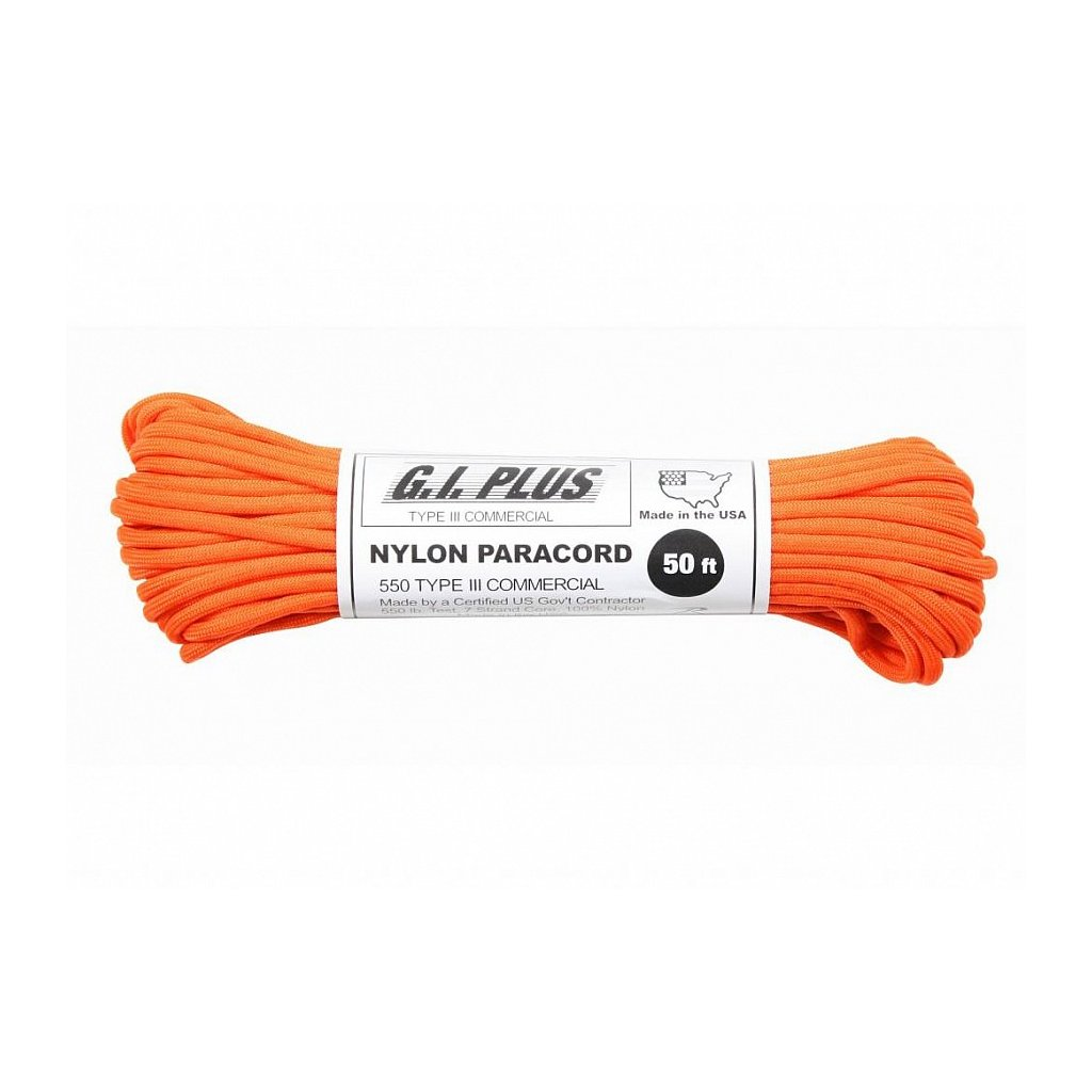 Padáková šňůra PARACORD Nylon 30m Safety Orange