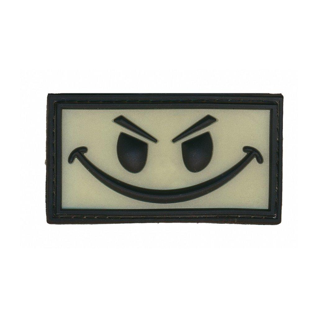 Gumová nášivka Evil Smiley Glow in the Dark