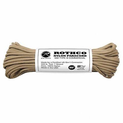 Padáková šňůra PARACORD Nylon 30m Coyote Brown