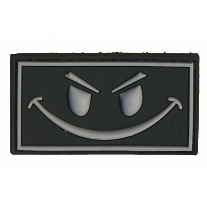 Gumová nášivka Evil Smiley Černá